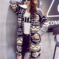 Winter Fashion Sweater Cardigan Coat Women Loose Warm Flat Knitted - Blue Beige