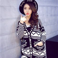 Winter Fashion Sweater Cardigan Coat Women Loose Warm Flat Knitted - Blue White