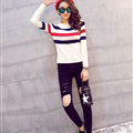 Winter Fashion Sweater Female Color Stripe Flat Knitted Short Full Sleeve - White Black
