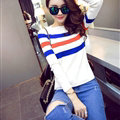 Winter Fashion Sweater Female Color Stripe Flat Knitted Short Full Sleeve - White Blue