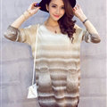 Winter Street Style Sweater Female Thick Warm Striped O-Neck Color - Coffee
