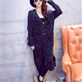 Winter Sweater Cardigan Coat Female Long Thin Thick Pocket - Black