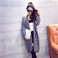 Winter Sweater Cardigan Coat Girls Long Loose Pocket Thick - Grey