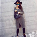 Winter Sweater Fashionable Female Long Thread Split Solid Full Sleeve - Dark Grey