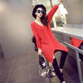 Winter Sweater Fashionable Female Long Thread Split Solid Full Sleeve - Red