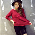 Winter Sweater Female Slim Warm Personality All-Match O-Neck - Red