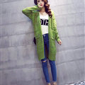 Winter Women Loose Sweater V-Neck Hand Knitted Cardigan Long Sleeved - Green