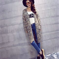 Winter Women Loose Sweater V-Neck Hand Knitted Cardigan Long Sleeved - Grey