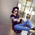 Women Fashion Sweater Sleeve Short Slim Solid O-Neck Thick - Black