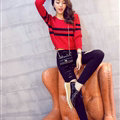 Women Fashion Sweater Sleeve Short Slim Solid O-Neck Thick - Red