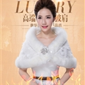 Bridal Lace Floral Rabbit Wool Scarf Shawls Women Winter Warm Solid 130*30CM - White