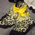 Colorful Leopard Print Scarf Shawls Women Winter Warm Silk Panties 180*100CM - Yellow
