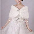 Cute Bridal Fringed Rabbit Wool Scarf Shawls Women Winter Warm Solid Panties 110*50CM - White