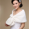 Cute Bridal Pearl Cashmere Scarf Shawls Women Winter Warm Solid Panties 100*30CM - White