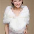 Cute Bridal Pearl Rabbit Wool Scarf Shawls Women Winter Warm Solid Panties 100*30CM - White