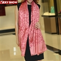 Cute Leopard Print Scarf Shawls Women Winter Warm Silk Panties 185*70CM - Red