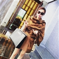 Cute Leopard Print Scarf Shawls Women Winter Warm Wool Panties 198*100CM - Brown