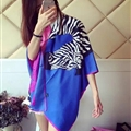 Cute Zebra Print Scarf Shawls Women Winter Warm Silk Panties 180*70CM - Blue