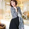Cute Zebra Print Scarves Wrap Women Winter Warm Cashmere 180*65CM - Grey