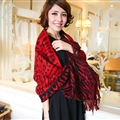 Cute Zebra Print Scarves Wrap Women Winter Warm Cashmere 180*65CM - Red