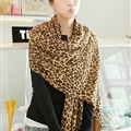 Fashion Fringed Leopard Print Scarf Scarves For Women Winter Warm Wool Panties 220*50CM - Brown