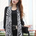 Fashion Zebra Print Scarf Shawls Women Winter Warm Silk Panties 200*135CM - Black