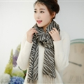 Fringed Zebra Print Scarf Scarves For Women Winter Warm Cotton Panties 190*58CM - Brown