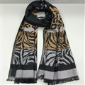 Fringed Zebra Print Scarves Wrap Women Winter Warm Cotton Panties 195*70CM - Yellow