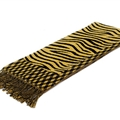 Fringed Zebra Print Women Scarf Bamboo Fiber Warm Scarves Wraps 180*45CM - Yellow