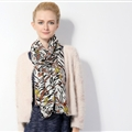 Popular Zebra Print Scarf Shawls Women Winter Warm Wool Panties 180*70CM - Yellow