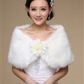 Pretty Bridal Floral Rabbit Wool Scarf Shawls Women Winter Warm Solid Panties 100*30CM - White