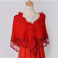 Pretty Bridal Fringed Cashmere Scarf Shawls Women Winter Warm Solid Panties 150*68CM - Red