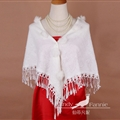 Pretty Bridal Fringed Cashmere Scarf Shawls Women Winter Warm Solid Panties 150*68CM - White