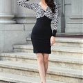 Bodycon Dresses Spring Girls Tunic Knitted Long Sleeve Zebra Print - Black White