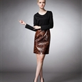 Classy Dresses Leopard Print Women Long Sleeve Knee Length - Brown Black