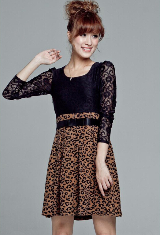 cd62f2851049 NAME Cute Dresses Spring Girls Printed Long Sleeve Leopard Print Floral -  Coffee