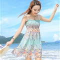 Cute Dresses Summer Girls Affordable Flower Bohemian Coast Chiffon - Cyan
