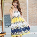 Cute Dresses Summer Girls Affordable Flower Bohemian Coast Chiffon - Yellow