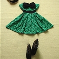 Cute Dresses Winter Ladies Printed Leopard Print Bowknot Short Strapless - Green