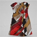 Dresses Summer Girls Silk Printed Leopard Print Geometric Patterns Plus Size - Red