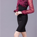 Elegant Dresses Spring Leopard Print Women Plus Size Long Lantern Sleeve - Black Red