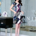 Elegant Dresses Summer Girls Printed Leopard Print Silk Knee Length - Purple