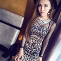 Elegant Dresses Winter Leopard Print Women Long Sleeve Backless - Coffee