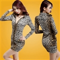 Elegant Dresses Winter Leopard Print Women Long Sleeve Bodycon Zipper - Yellow