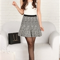 Fashion Dresses Ladies Leopard Print Knitted Semi Ruffle - White