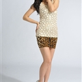 Fashion Dresses Ladies Leopard Print Sexy Short Semi Bodycon Plus Size - Brown