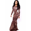 Fashion Dresses Spring Ladies Leopard Print Floor Length Long Printed - Red