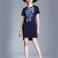 Fashion Dresses Summer Ladies Leopard Print Cotton Classy Short Knitted - Black