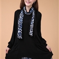 Fashion Dresses Winter Ladies Leopard Print Chiffon Plus Size Knitted - Black