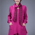 Fashion Dresses Winter Ladies Leopard Print Chiffon Plus Size Knitted - Rose